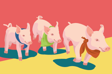 An illustration of three pigs in a line with festive bandanas on in all different colors: red, green and blue.