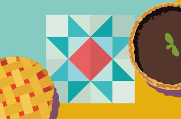 An abstract illustration of a textile craft in a star shape, plus two pies - one fruit and one chocolate.