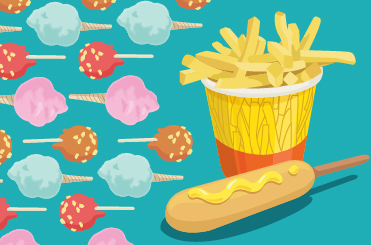An illustration of french fries in a bucket and a corn dog, plus multiple cones of cotton candy in blue and pink and candied apples on sticks.