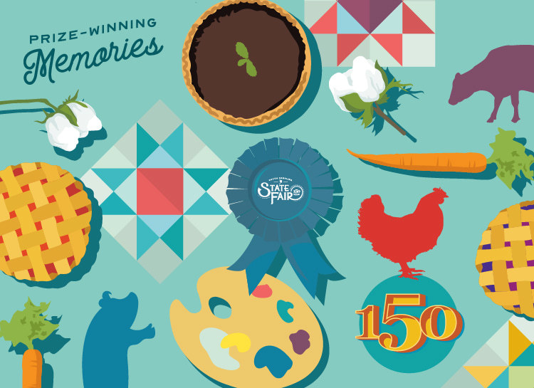 "An illustration of competitive exhibit types including textile artwork, pies, vegetables and animals. The image says ""Prize-Winning Memories"" and a red rooster sits over text that says ""150"" for the fair's anniversary."
