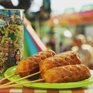Chicken and waffles on a stick.
